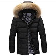 Моды для мужчин Корейской Зимой Толстые Теплые Молния Вниз Хлопка Хлопка-ватник Повседневная Парки Пальто Сельма Капюшоном Воротник Ветровки Пальто