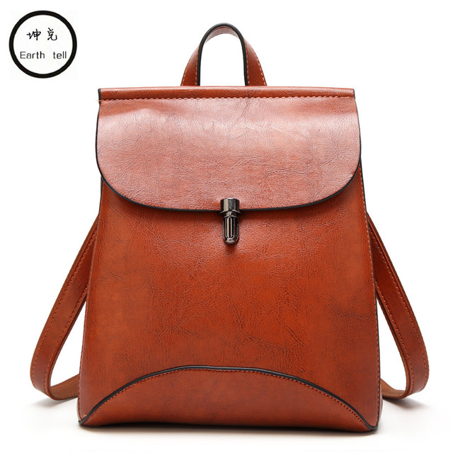 New large Simple retro Splice back Messenger woman PU leather backpack girl  school bags metal buckle 7d20dcef84f0b