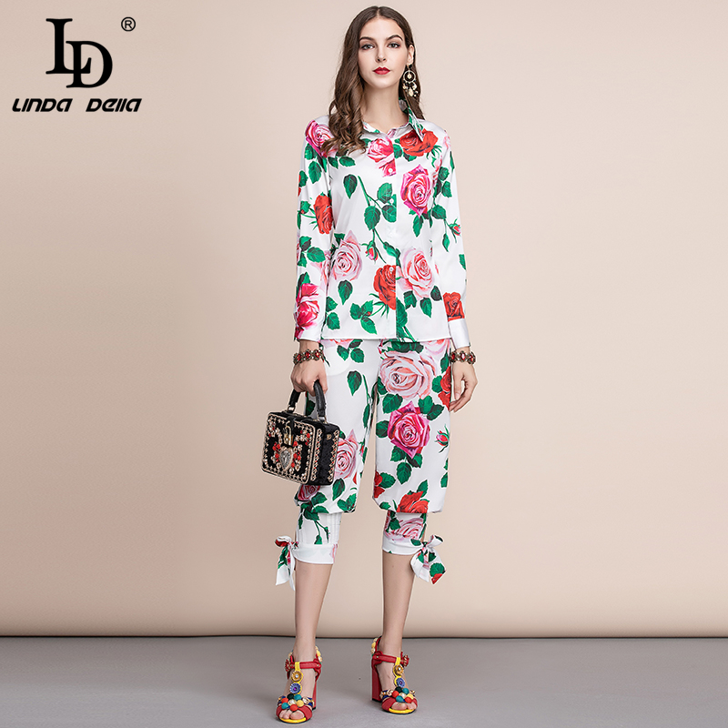 LD LINDA DELLA Elegant Rose Floral Print Women Suits Fashion Designer Long Sleeve Blouses And Casual Pants Two Pieces Sets 2019