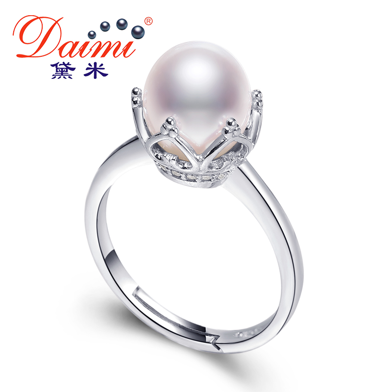 Daimi high quality queen 39 s ring 8mm 8mm whit pearl ring for Best glue for pearl jewelry