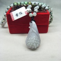 Zhe Ru Jewelry Pure Natural Jadeite Carved Light Green Grape Pendant Tricolor Jade Bead NecklaceClass A National Certificate