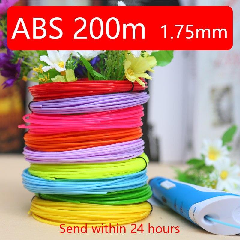3d pen filamen abs1.75mm abs 3d printing pen 3 d pens best gift 20color 200m safety plastic
