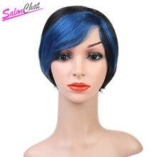 Прямые короткие парики темно-синий парик с полной головкой бразильский не Реми синие короткие
