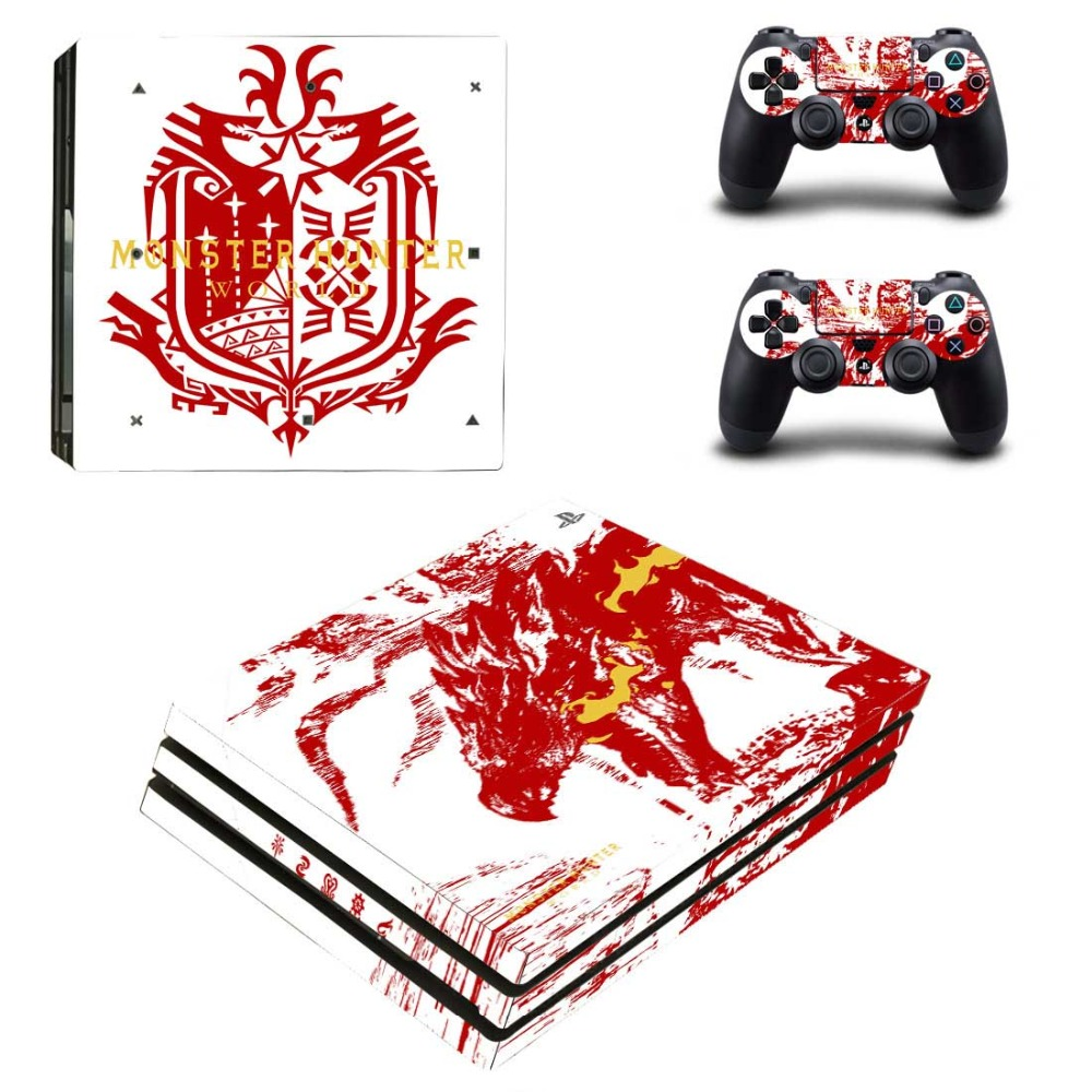MONSTER HUNTER WORLD PS4 Pro Skin Sticker Cover For Sony Playstation 4 Pro Console&Controllers