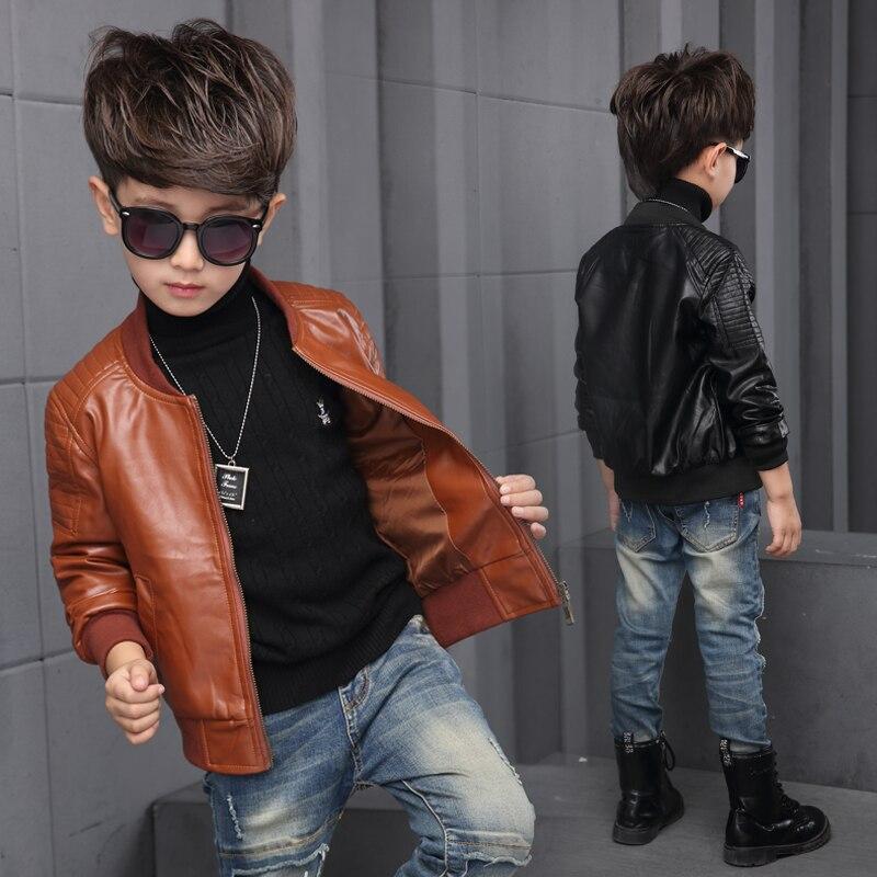 Новые для маленьких мальчиков кожаная куртка пальто для мальчиков черный и коричневый цвета Цвет детские куртки manteau GARCON Детская куртка
