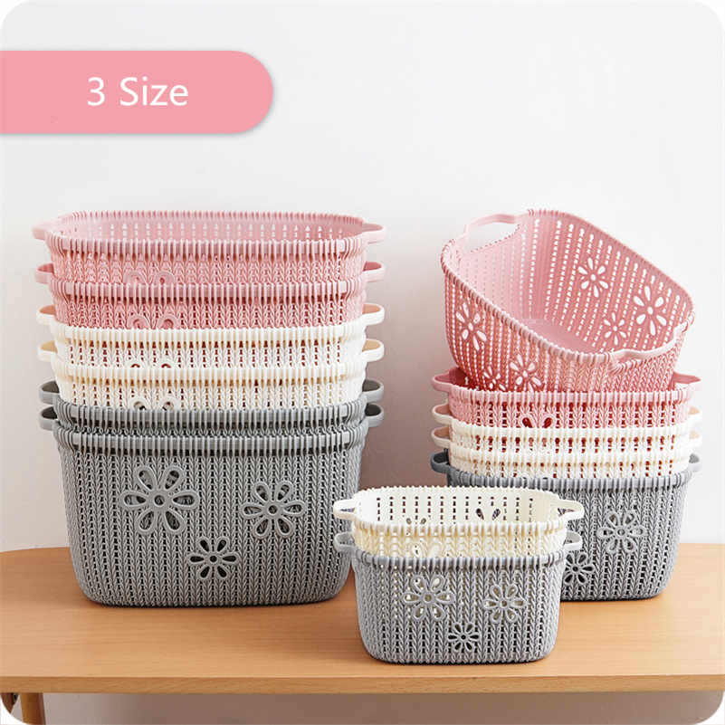 JiangChaoBo Hollow Imitation Rattan Storage Basket Desktop Snacks Debris Storage Basket Kitchen Bathroom Plastic Basket Basket