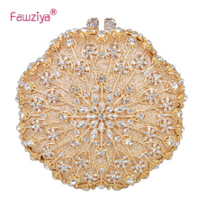Fawziya Bridal Bag Bling Hollow Out Flower Round Clutch Purse For Party Handbag