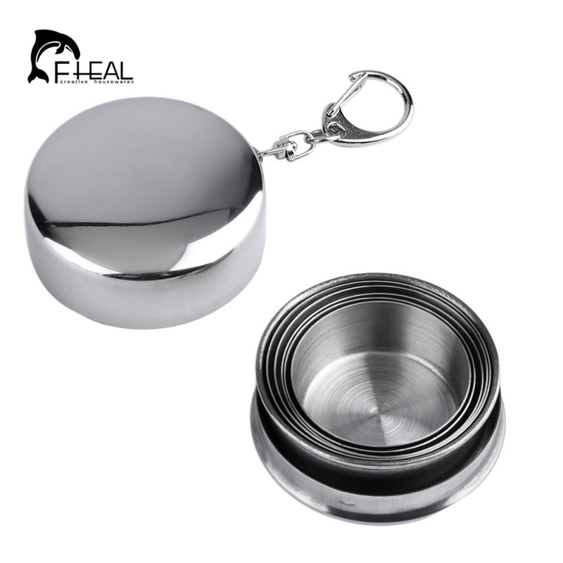 FHEAL Foldable Coffee Cup Coffee Mug 75/140/240ML Stainless Steel Travel Folding Cup Outdoor Water Cup for Camping Coffee Tool