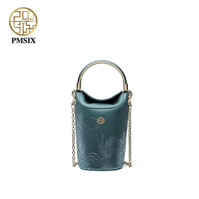 e527fae17 Pmsix luxuoso das senhoras sacos de moda de Nova Mini balde saco bolsas de  grife originais P120148 Socialite bolsa de couro de Alta qualidade