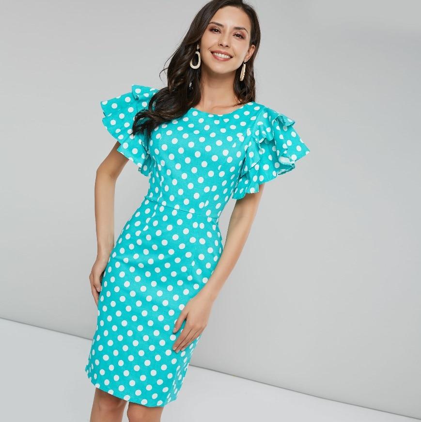 Sisjuly Femei rochie de vara Bodycon Albastru Alb Polka Dot rochii Lungime genunchi Petal Sleeve Vintage Pulover Femei Fete Rochii