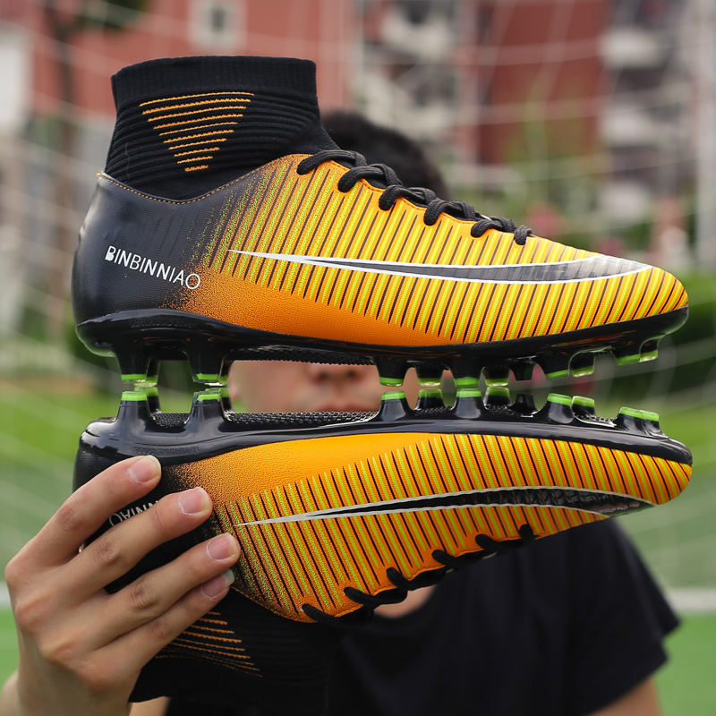 Turf Indoor Men Soccer Shoes Kids Cleats Training Football Boots High Ankle Sport Sneakers Long Spike Sport Shoes Men Sneakers(China)
