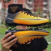 ecee7bb270 Turf Indoor Men Soccer Shoes Kids Cleats Training Football Boots High Ankle  Sport Sneakers Long Spike. Homens Sapatos De Futebol Crianças Treinamento  ...