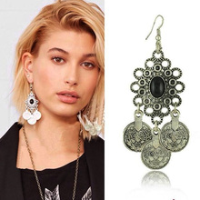 From India 2016 Retro Plating Ancient Silver Tassel Indian Jewelry Earrings For Women Earrings Diaogu Money