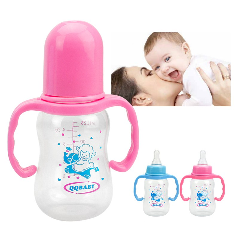 2017 Baby Feeding Bottle 125ml Infant Product Sippy Cup Feeder Milk Water Baby Bottle With Handle Kids Cup For Infant kids