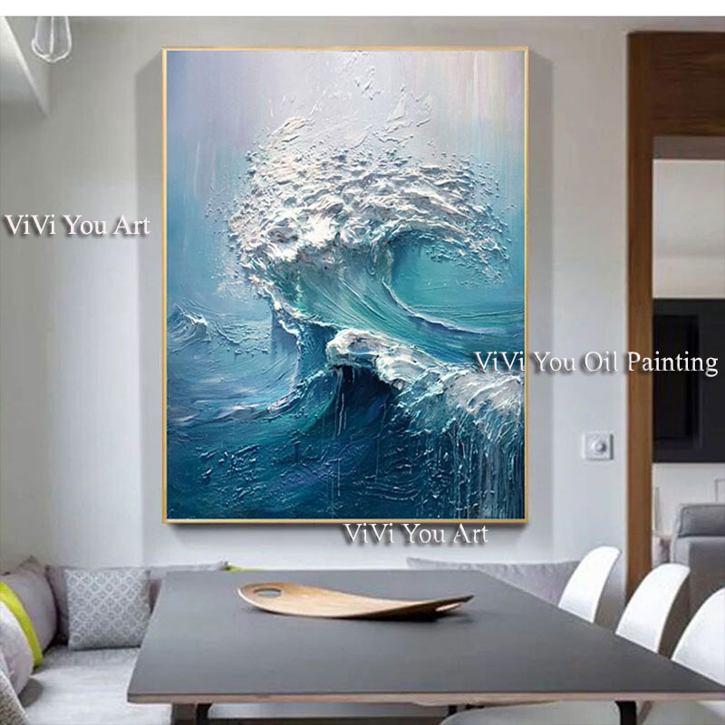 Image 2 - Large size Handpainted WALL Painting waves sea ocean stock wall 