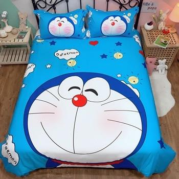 Luxury Bedding Set Doraemon Kids boys Pure cotton quilt cover twin queen king cute Duvet Cover flat Sheet students bedclothes