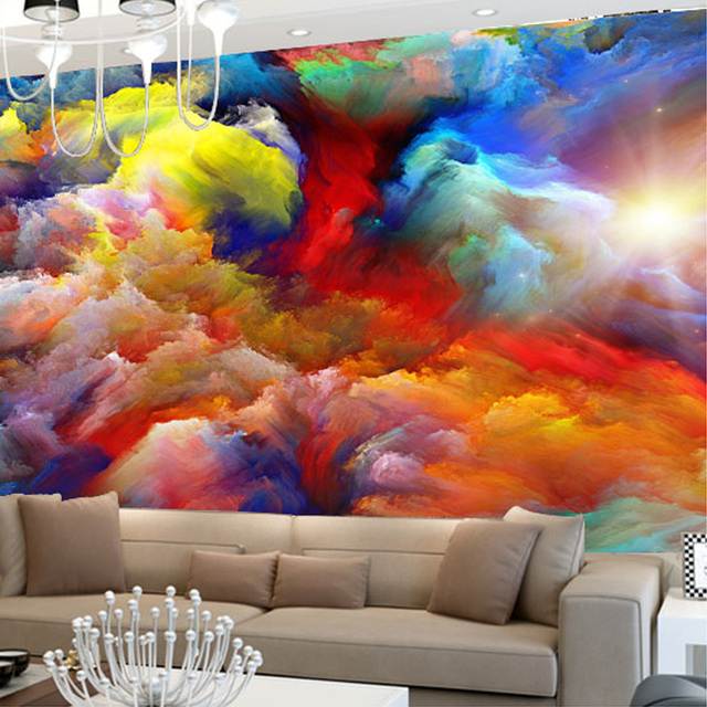 benutzerdefinierte 3d bunte wolken fototapete f r wohnzimmer 3d gro e wandbilder moderne. Black Bedroom Furniture Sets. Home Design Ideas