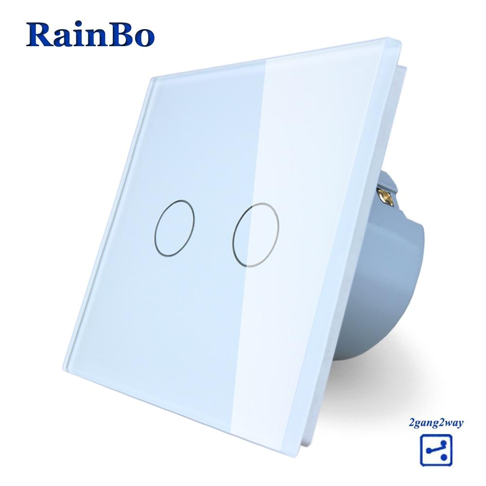 Rainbo interruptor ligero de la pared interruptor alejado Interruptor táctil pantalla panel de cristal interruptor de pared UE remoto 110 ~ 250 V 2gang2way a1922CW/B