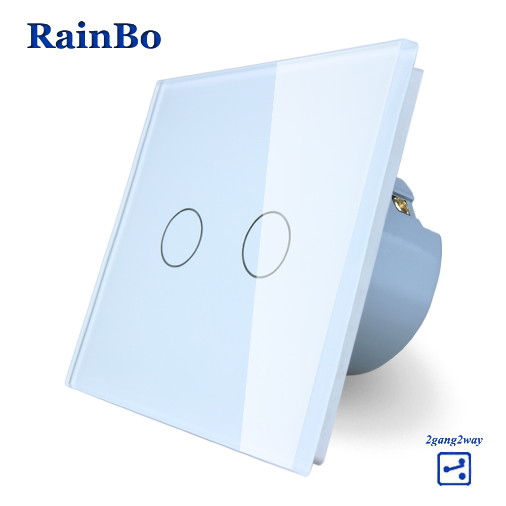 RainBo Wall Light Switch Remote Touch Switch Screen Crystal Glass Panel wall switch EU Remote 110~250V 2gang2way A1922CW/B rainbo touch switch screen crystal glass panel wall switch eu standard 110 250v wall light switch 2gang2way led lamp a1922xw b