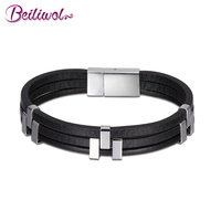 Beiliwol Fine Bracelets For Men Magnetic Buckle 316L Stainless Steel Genuine Leather Bangles Jewelry Punk Style