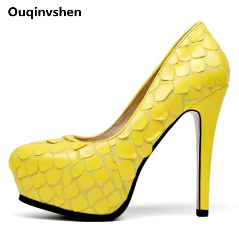 9c54b782 Punta Plataformas Primavera Estrecha Tacones Amarillo Ouqinvshen Amarilla  Finos Talón Negro Zapatos Mujer Bombas Verano Alto ...