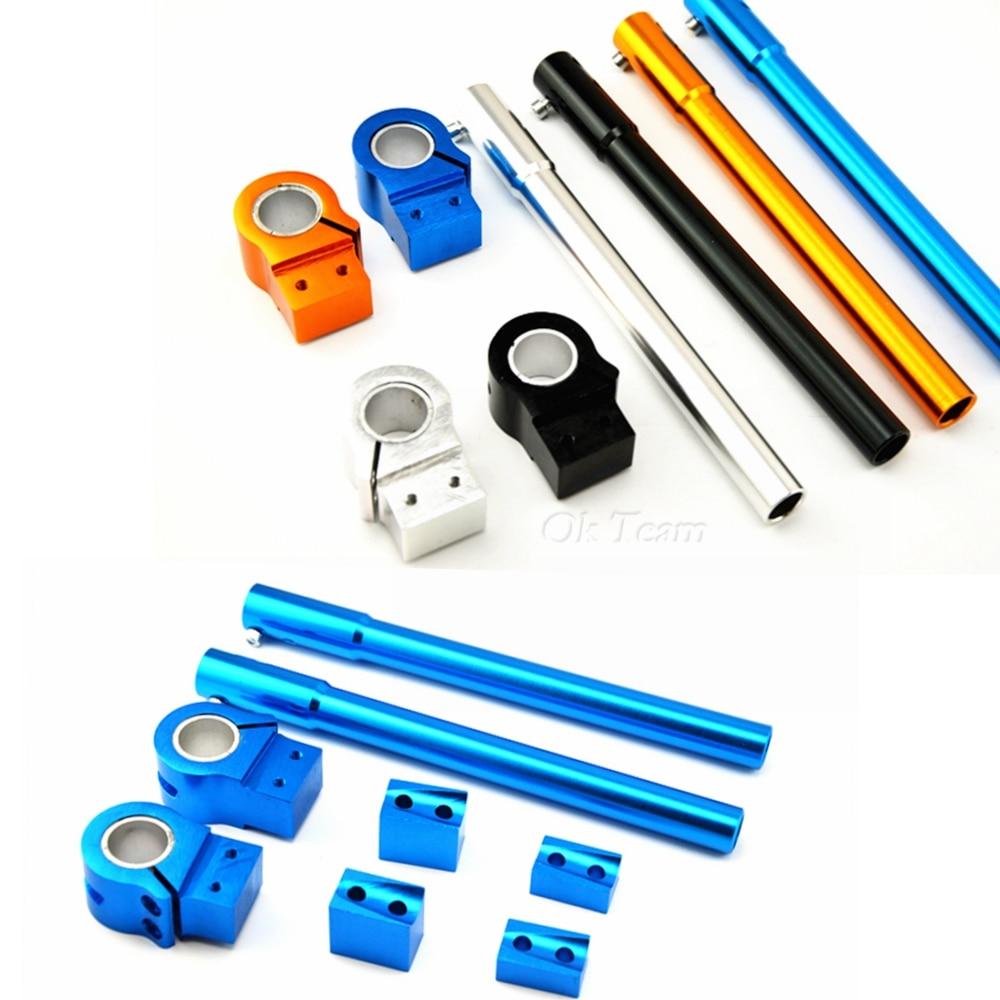 Azul Universal Motocicleta 30mm CNC Clip-ons Riser Manillar de 2 piezas