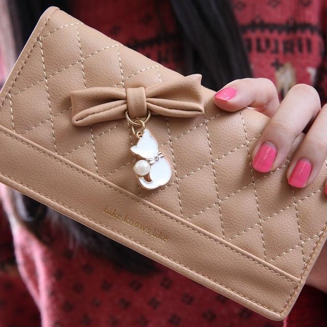 Damski portfel uroczy pikowany z kotkiem