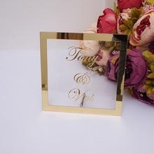 Пользовательские невеста жених имя зеркало Frame Свадьба Signage персонализированные Transperant акрил вывеска с ногтей вечерние Декор сувениры