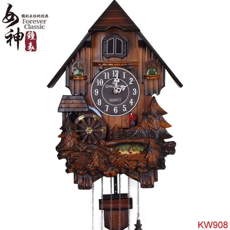 Goddess wooden living room wall clock cuckoo cuckoo clock chime music creative fashion simple - Wooden cuckoo clocks ...