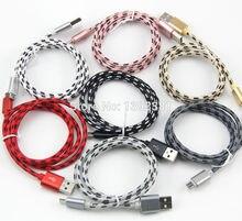 100 sztuk 1 M 2 M 3 M nowy wysokiej prędkości Metal USB pleciony danych szybka ładowarka kabel Micro USB 8 pin typu C kabel do ładowania dla telefonów komórkowych