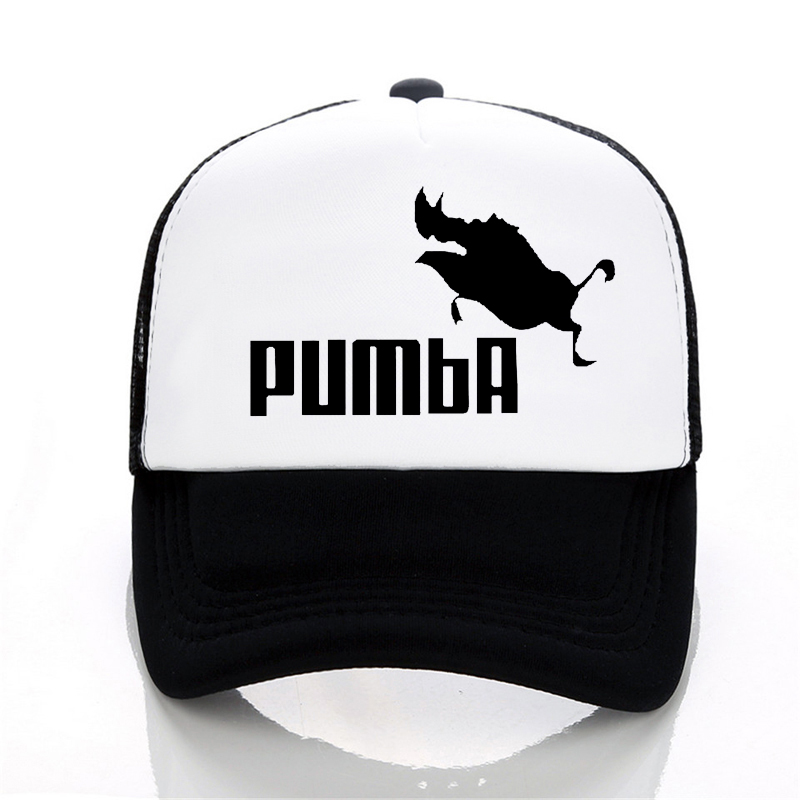 Men and women homme Pumba   Baseball     caps   Casual letter print Cartoon hat summer adjustable Mesh trucker   cap