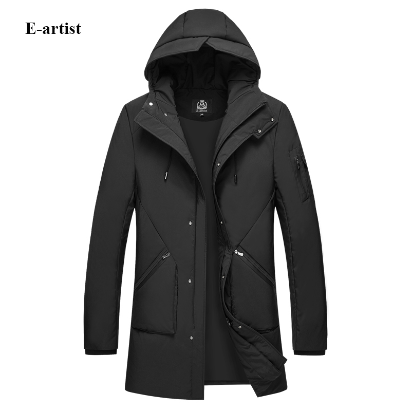 E-artist Mens Long Hooded Down Coats Jackets Male Casual Thicken Zipper Outwear Overcoats for Winter Plus Size 6XL Y48
