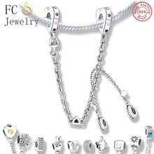 New Personal Galaxy Safety Chain Bead 925 Silver Bracelet Womens Rainbow Pave CZ Fit Original Pandora Charm DIY Jewelry