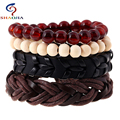 19 Styles 1 Set 4 Pcs Leather Rope Beads Bracelets Cuff for Male Femme Braclet Women Braslet Men Jewelry Pulseras Hombre