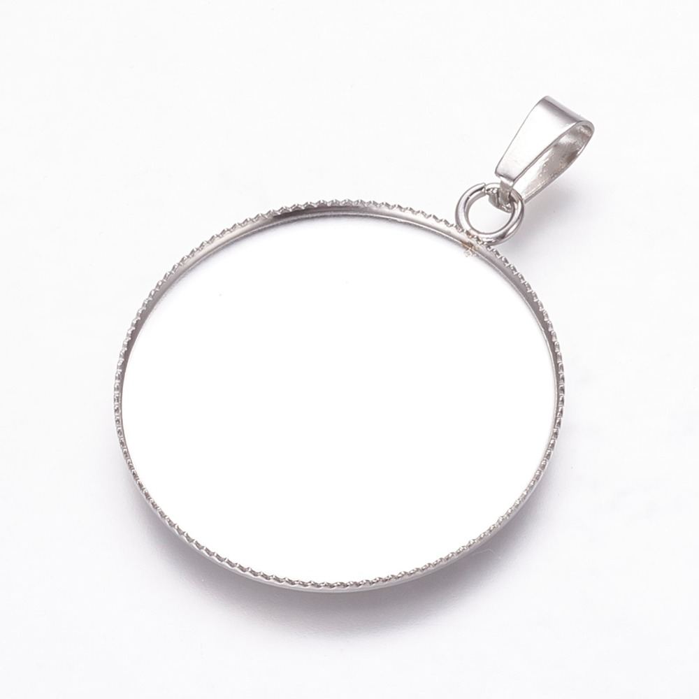 Trend Mark Pandahall 5pcs 30mm Stainless Steel Metal Jewelry Findings Pendant Cabochon Settings Flat Round Jewelry Findings & Components