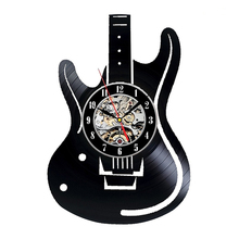 Hollow Electric Guitar Vinyl Record Wall Clock Unique Antique Home Wall Decor Musical Instruments Creative Hanging Clock
