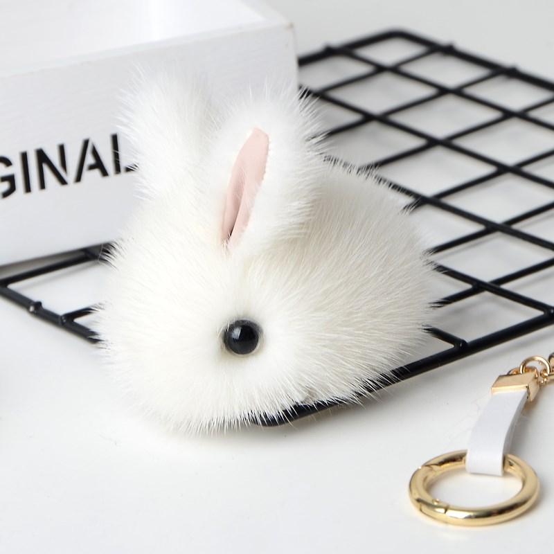 Mink fur Bunny pendant hangs and dies small jade rabbit bag pendant cute little animal fur rabbit jewelry little rabbit animal series many chew toy