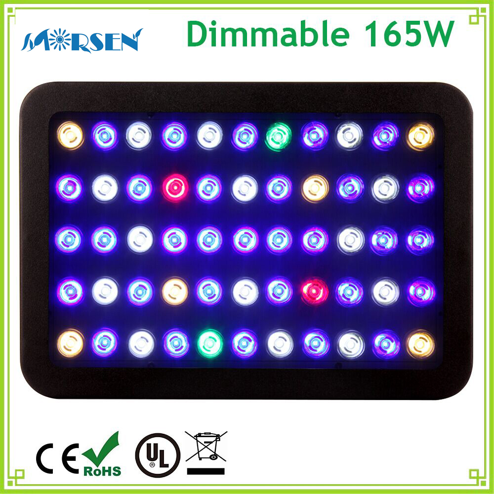 1pcs Dimmable Full Spectrum 165W LED Aquarium Light Fish Tank Coral Reef Marine Aquarium Panel Light Led Grow Light AC85-265V#30