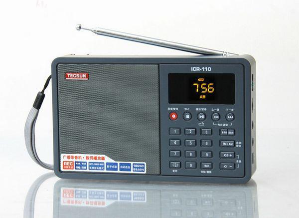 Free Shipping TECSUN ICR-110 FM/AM TF Card MP3 Player Recorder Radio ICR110 (upgrade version of ICR-100) free shipping tecsun icr 110 fm am tf card mp3 player recorder radio icr110 upgrade version of icr 100