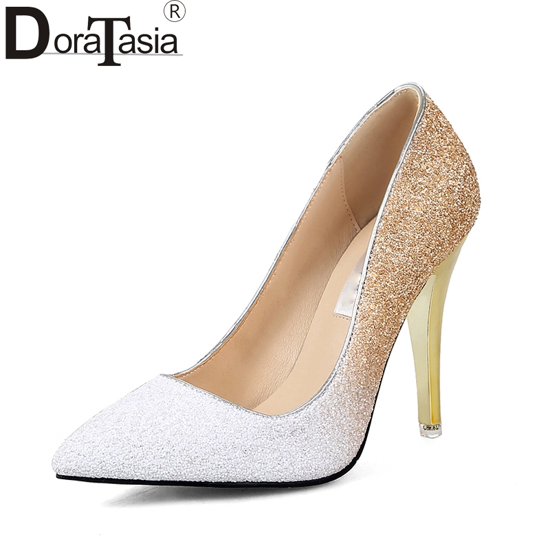 DoraTasia  2018 Large Sizes 34-43 Pointed Toe Party Woman Shoes Sexy Thin High Heels Slip On Bling Wedding Pumps Shoes Women brand shoes woman spring summer rainbow women pumps high heels fashion sexy slip on pointed toe thin heel party wedding shoes