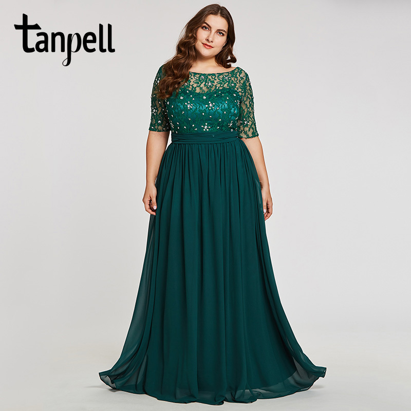 Tanpell Plus Size Evening Dresses Hunter Scoop A Line Floor Length Dress Chiffon Half Sleeves Beaded Lace Long Evening Gown