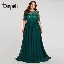 Tanpell 플러스 사이즈 이브닝 드레스 헌터 특종 라인 층 길이 드레스 쉬폰 하프 슬리브 페르시 레이스 긴 이브닝 가운