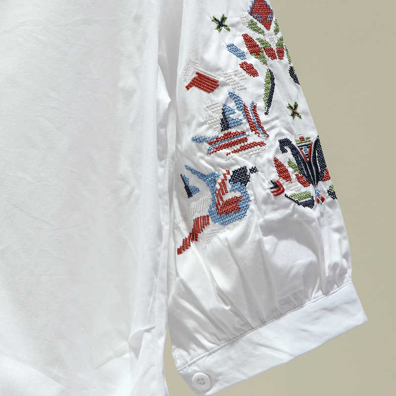 2019 Fashion Vrouwen Etnische Stijl Borduren Shirts Blouses Zomer Stijl Casual Tops Chemise Femme Blusas