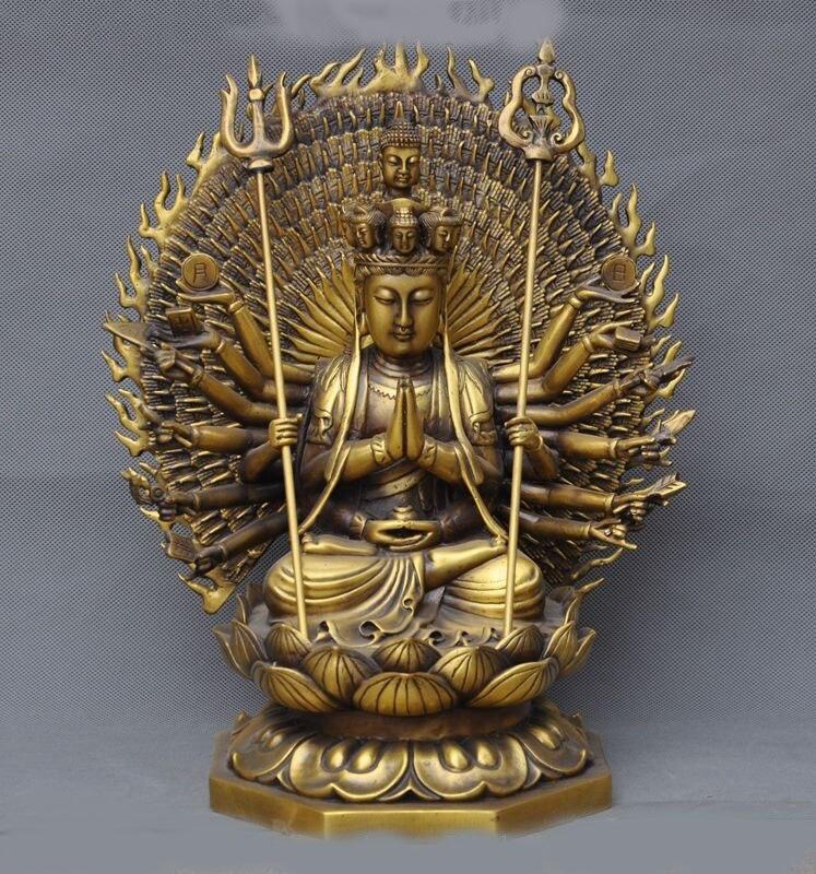 Christmas 14Tibet Buddhism Brass 1000 Arms Avalokiteshvara Kwan yin GuanYin buddha Statue new Year