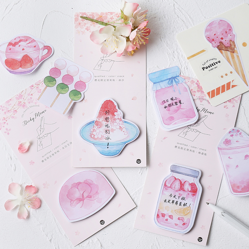 Luankong Pink Cherry Blossoms Flower Memo Pad Planner Sticky Note Paper Sticker Kawaii Stationery Pepalaria 30 Pages