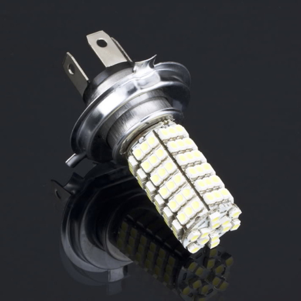 new h4 led headlight 3528 120 smd lamp 6500k white car styling fog light bulb parking hot
