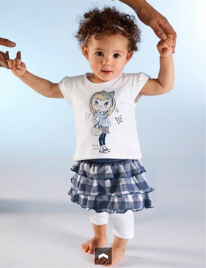 e73968253 Hurave جديد أزياء اطفال بنات الصيف الترفيه الملابس 2 قطع مجموعات تنورة مع  قميص الدعاوى الملابس مجموعات