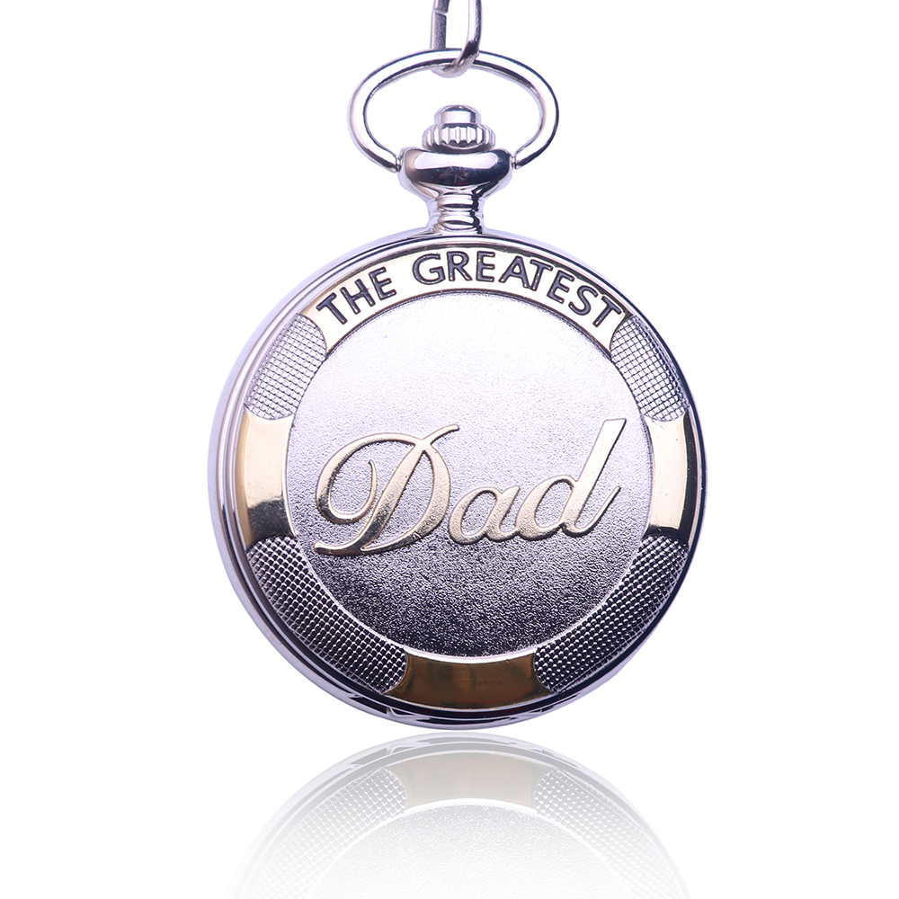 2017 Silver Gold Dad Pocket Watch Necklace FOB Chain Vintage Watches Mens Father's Day Gifts Relogio De Bolso men mechanical pocket watch roman classic fob watches flower design retro vintage gold ipg plating copper brass case snake chain