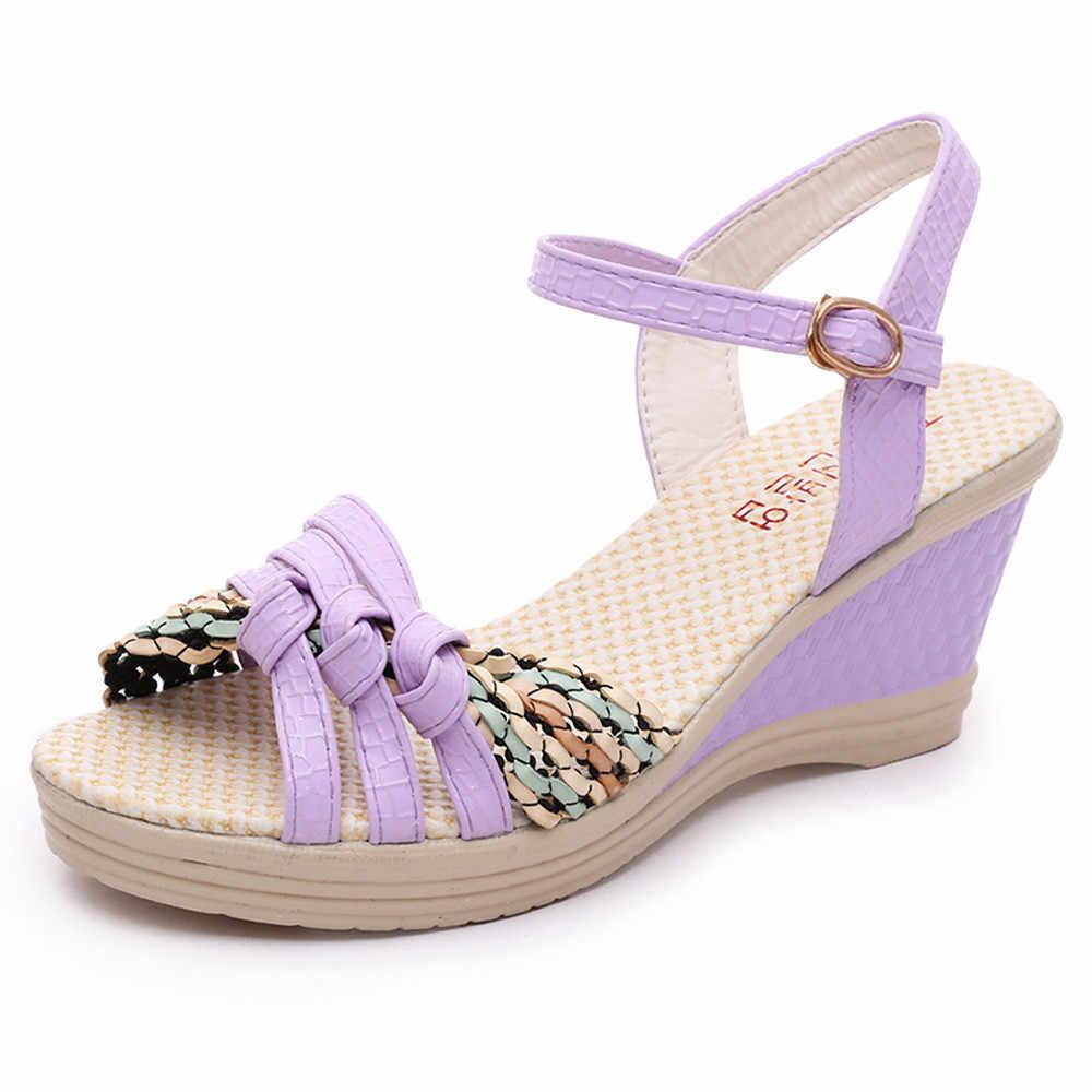 גבירותיי נשים אבזם פתוח הבוהן טריז סנדלים עקב נעלי ארוג פלטפורמת סנדלי אופנה קיץ נעלי נשים