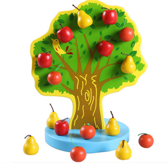 New Wooden toy  Magnetic simulation Fruit tree Apple and Pear Baby toy Free Shipping